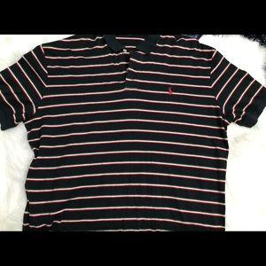 Men's striped polo top